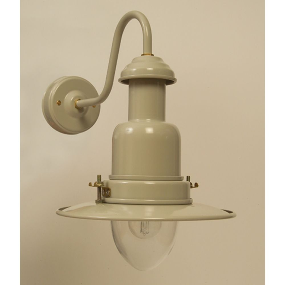 Some call it Clay, others Putty, we used to call it mocha! Outdoor Fisherman's Wall Light in Putty Grey This UK made wall light in aluminium powder coated in putty grey,  This wall-mounted light comes with brass securing fittings, for that authentic fisherman's look. It can be used inside or outside; this is a super metal external light available in 2 sizes.