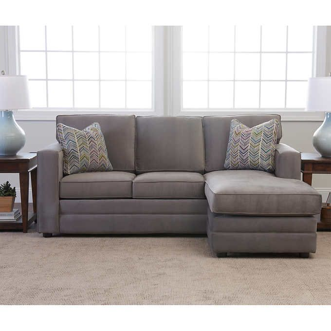 Beeson Fabric Queen Sleeper Reversible Sectional Gray Grey Sectional Sofa Fabric Sectional Couch Couch Upholstery
