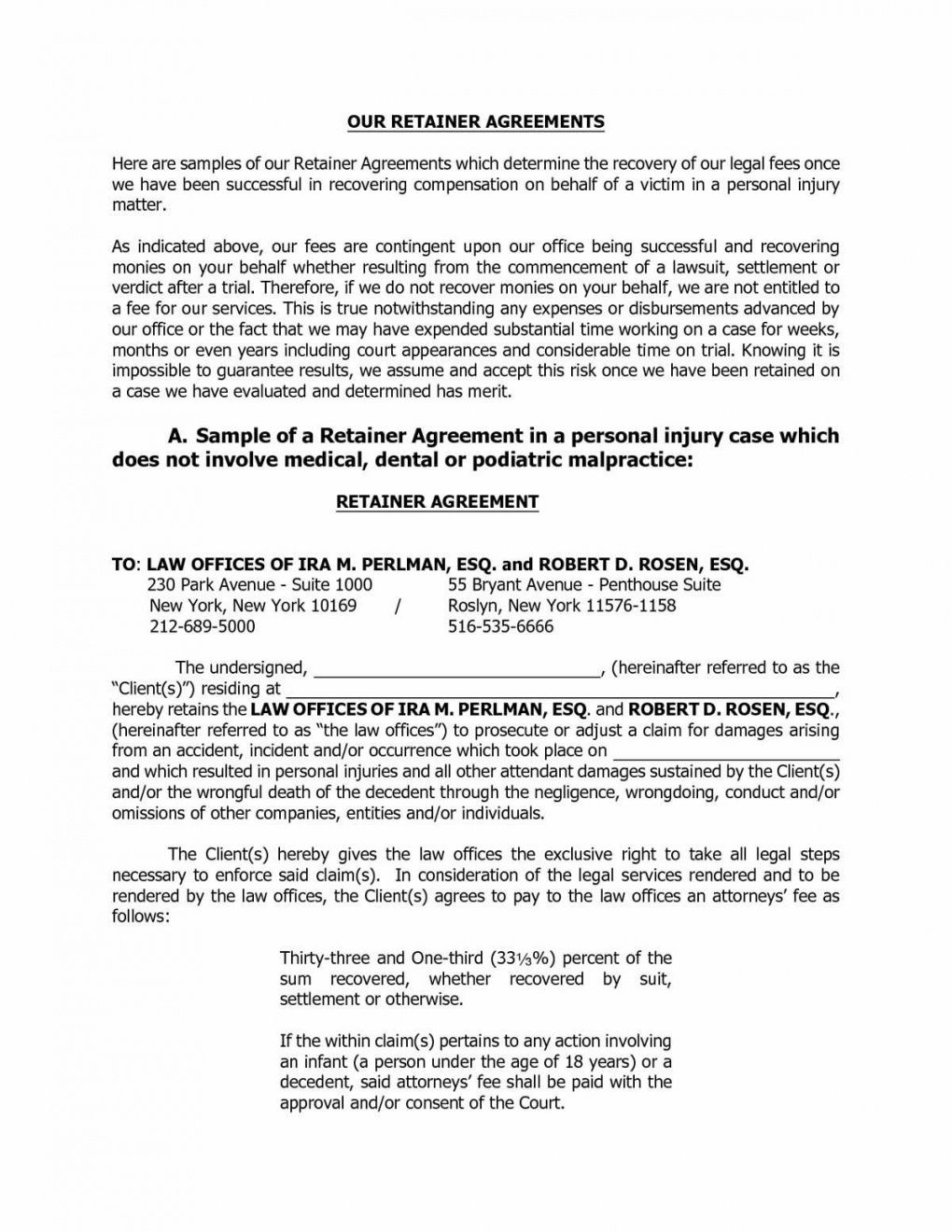 Retainer Fee And Compensation Agreement Letter Sample Retainership