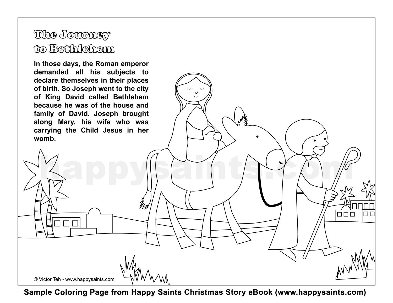 Coloring Download. Mary And Joseph Travel To Bethlehem And Pages ...