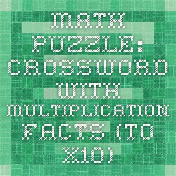 Math Puzzle: Crossword With Multiplication Facts (to x10) | Math in ...