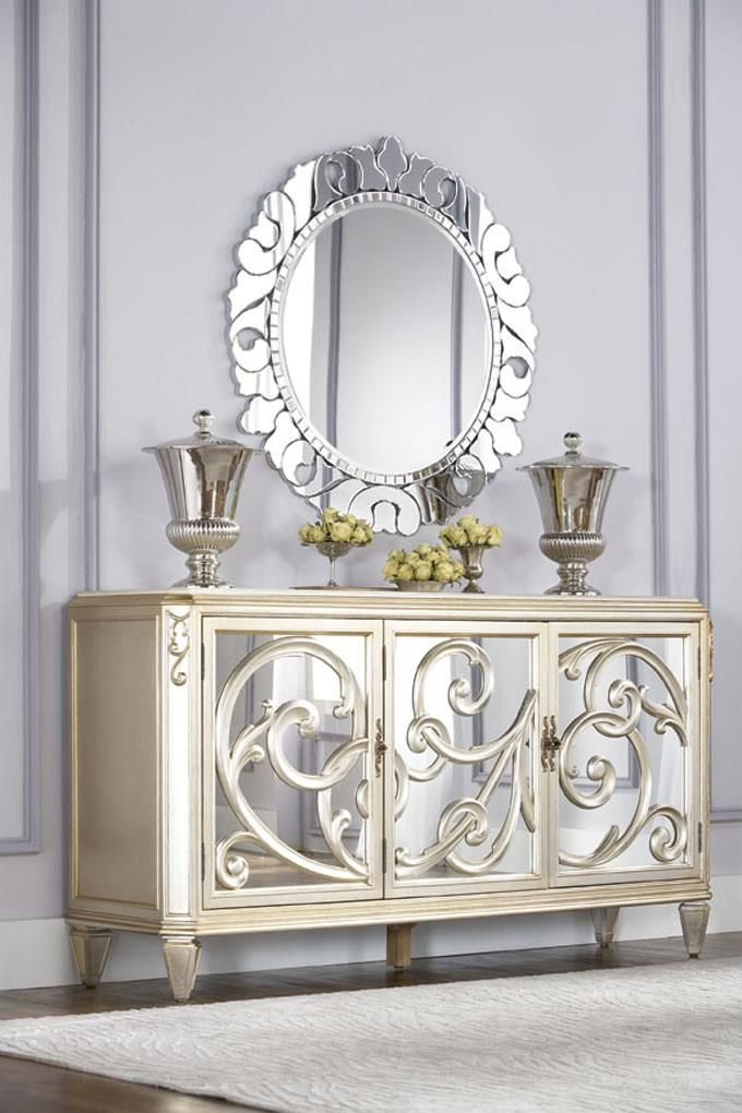 Jessica Mcclintock Couture Buffet With Stone Top And Round