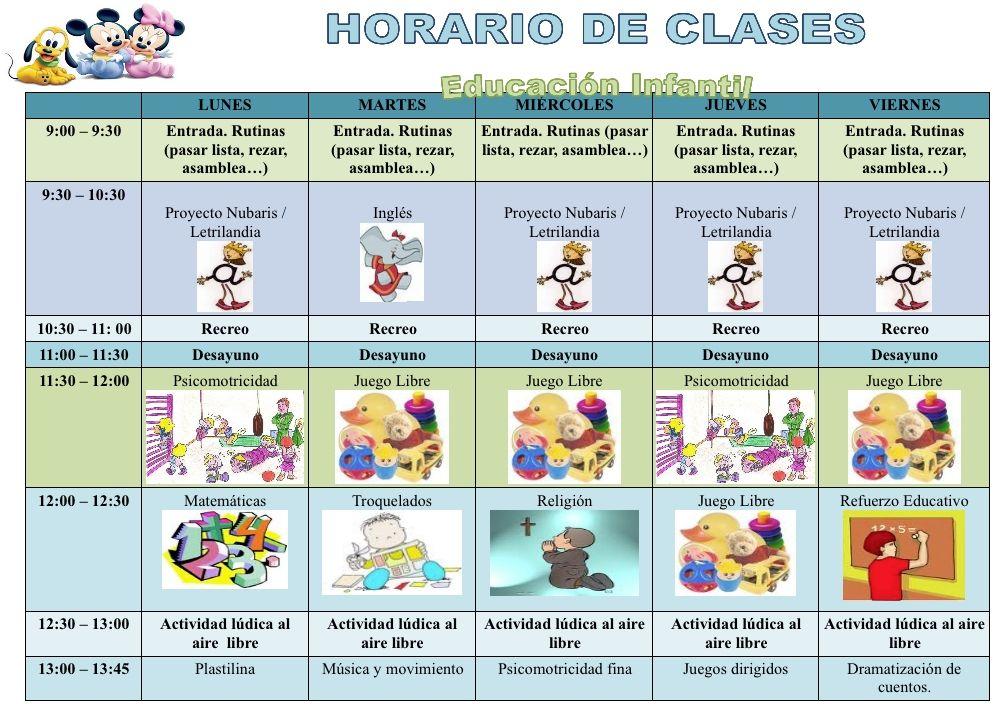 15 Ideas De Horarios De Infantil Horario Horario De Clases Infantiles