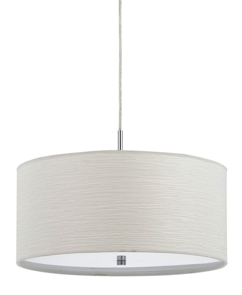 Casual white uniquely interesting textured fabric modern drum pendant light fixture chandelier hanging lamp 18 wide