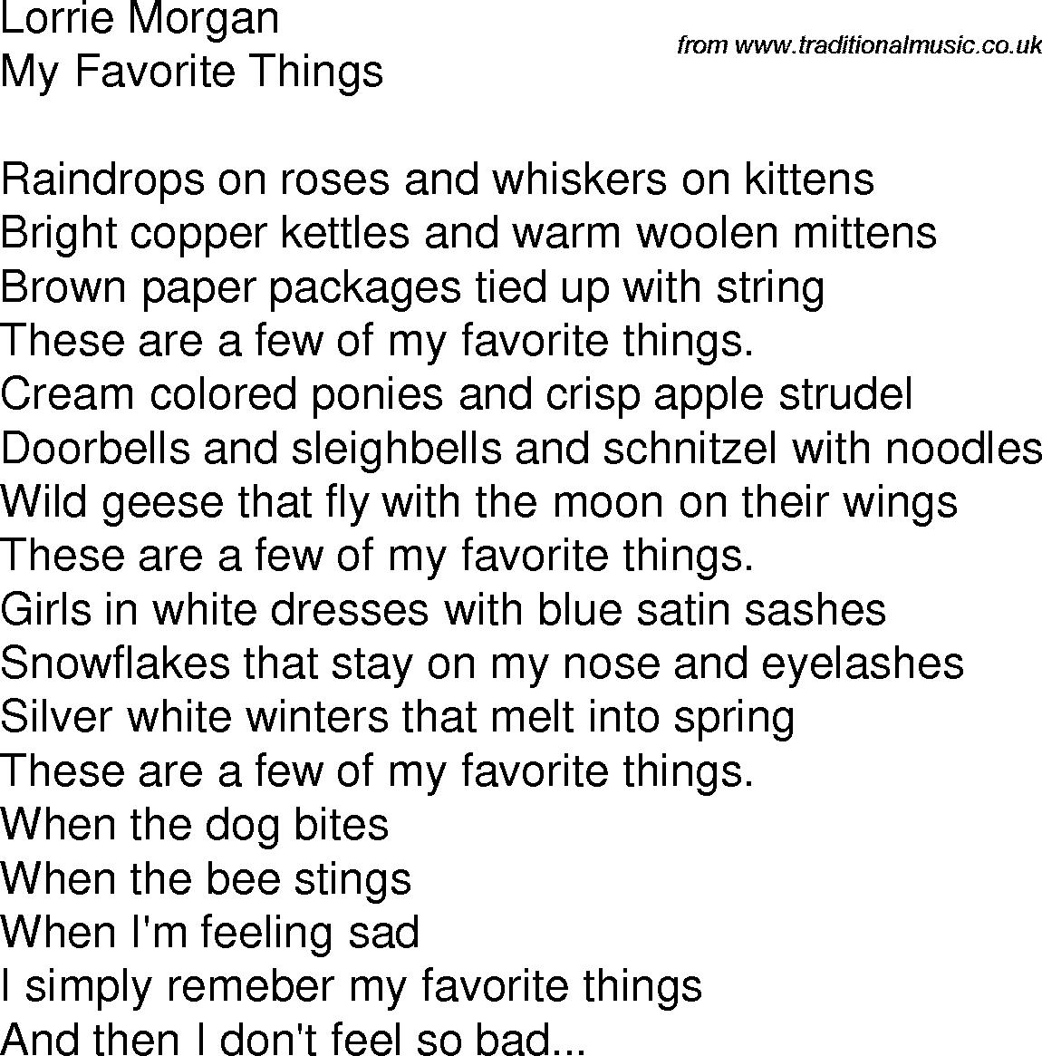 Folk Lyrics For My Favorite Things By Lorrie Morgan