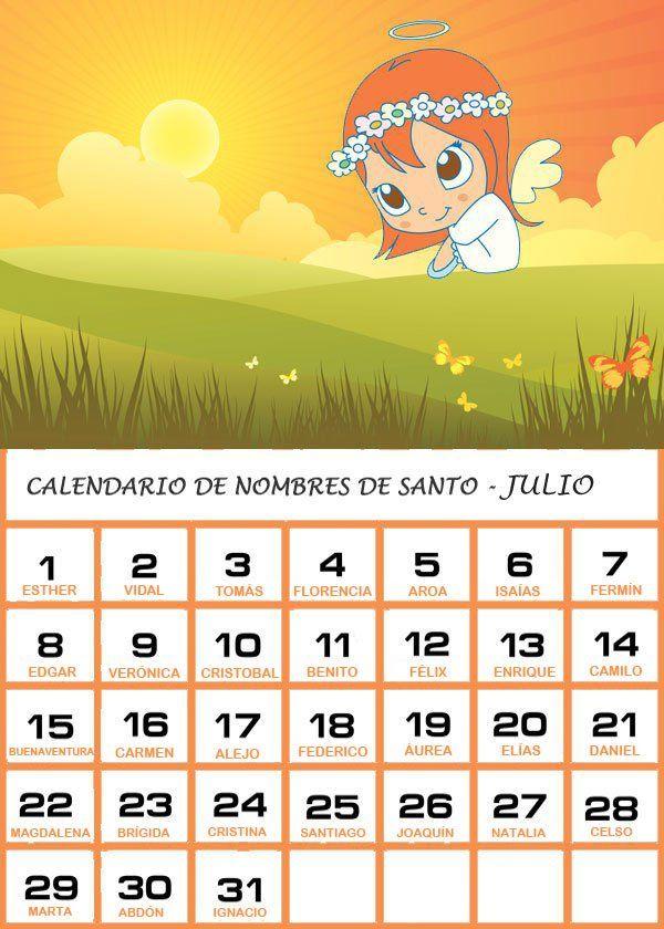Calendario Con Santos.Calendario De Los Nombres De Santos De Julio Santos Santos