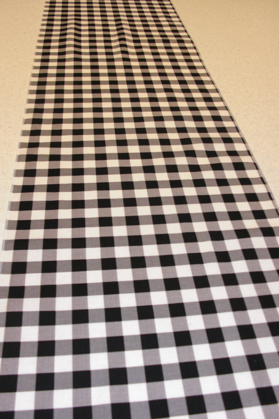 11 x 108 Inch Black and White Gingham Table Runner Plaid