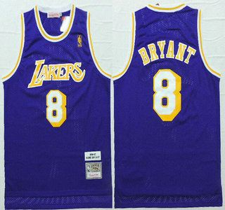 2cec8ec95 new style los angeles lakers jersey 8 kobe bryant 1996 97 purple hardwood  classics soul swingman