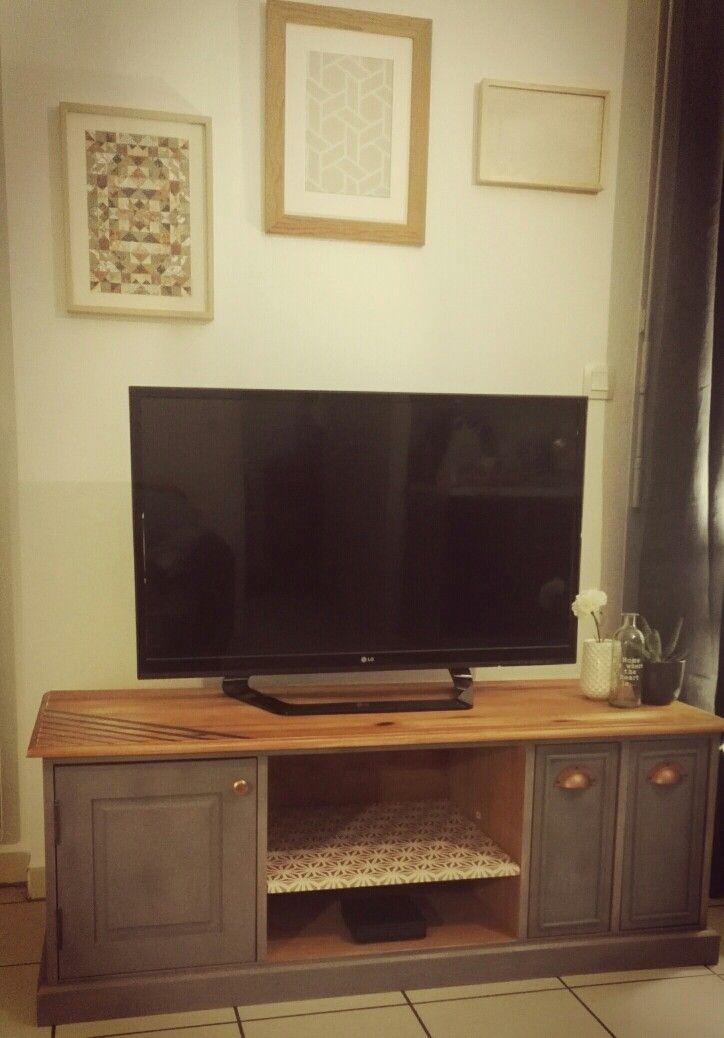 Meuble tv pin massif, modèle chiffonnier Relooké en Greywash