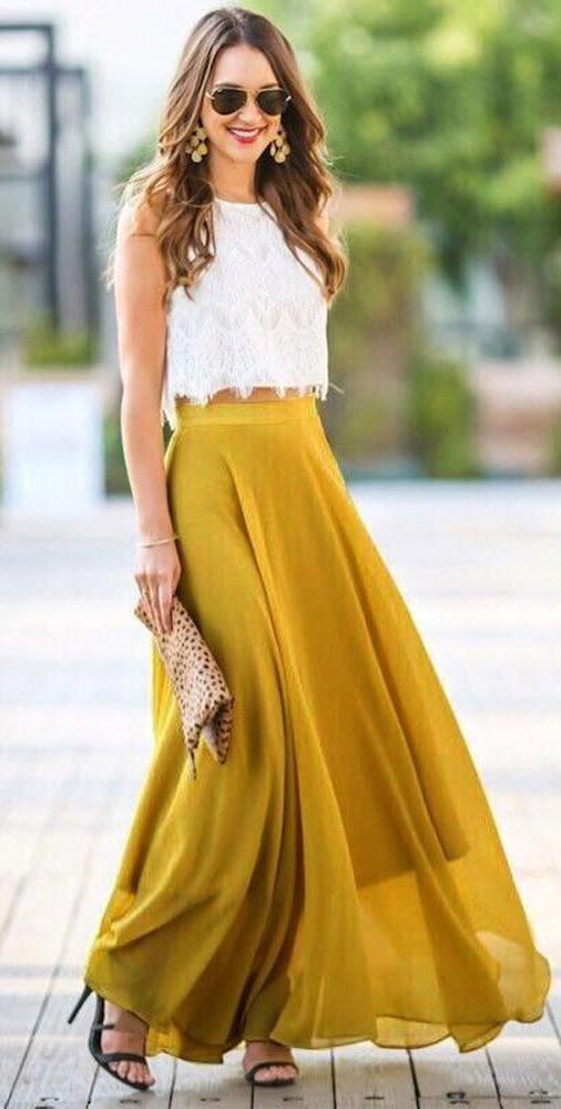 Women's Chiffon Stretch High Waist Maxi Skirt – 105 ...