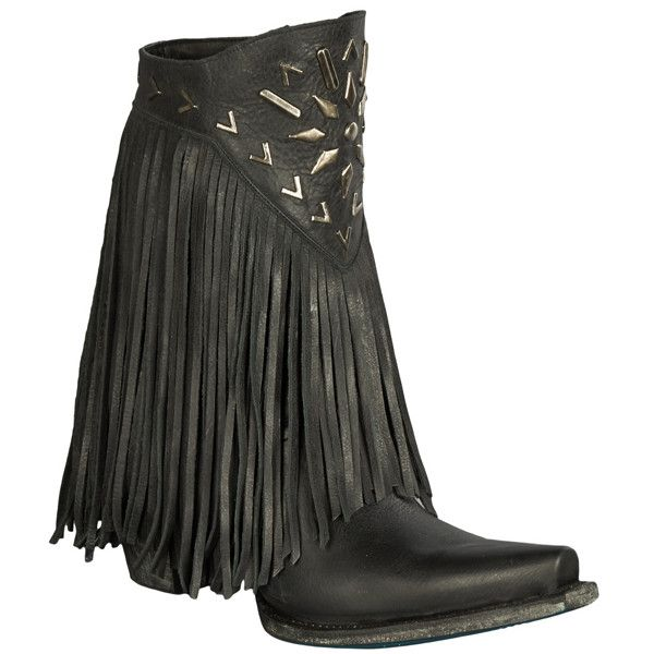"Lane Boots ""Fringe It"" Women's Leather Cowboy Boot Black ($470) ❤ liked on Polyvore featuring shoes, boots, black, mid-calf boots, western boots, fringe cowboy boots, black fringe boots, leather ankle boots and black leather bootie"