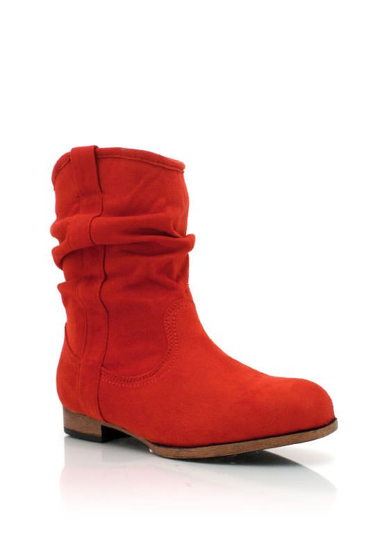slouchy faux suede booties $27.80 in BLACK COBALT DKFUCHSIA KGREEN MUSTARD RED TAUPE - Boots | GoJane.com