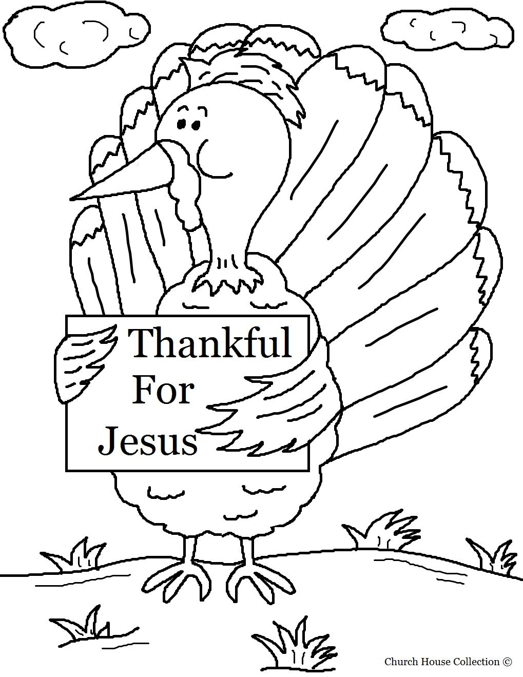 Turkey Holding Sign Thankful For Jesus Coloring Page