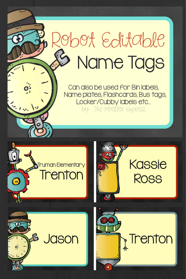 Editable robot name tags also great for bus tags locker for Locker tag templates