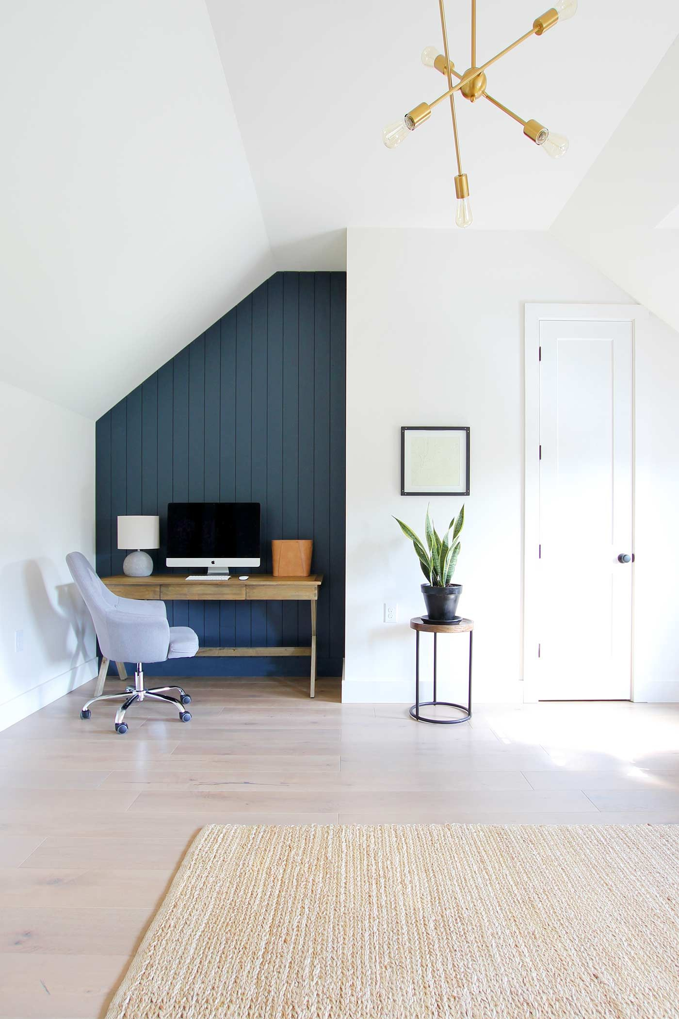 hale navy home office makeover reveal with dark shiplap on office accent wall color id=87140