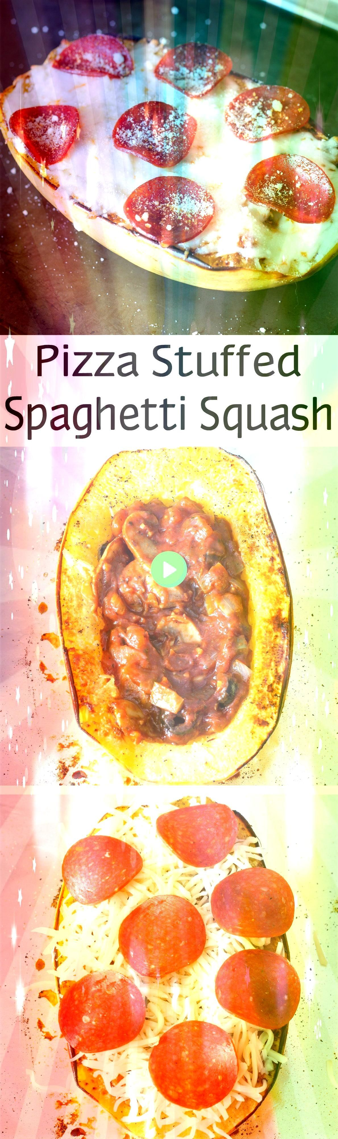 Stuffed Spaghetti Squash Pizza stuffed spaghetti squash is a roasted spaghetti squash filled with veggies and pizza sauce topped with cheese and pepperoni and baked Stuff...
