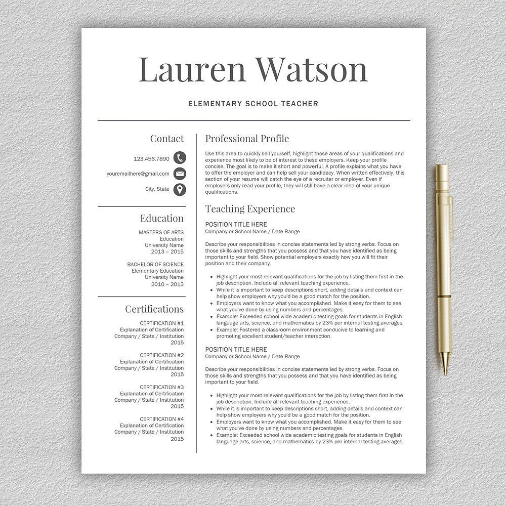 Example teacher resume / CV templates with two-column sidebar format ...