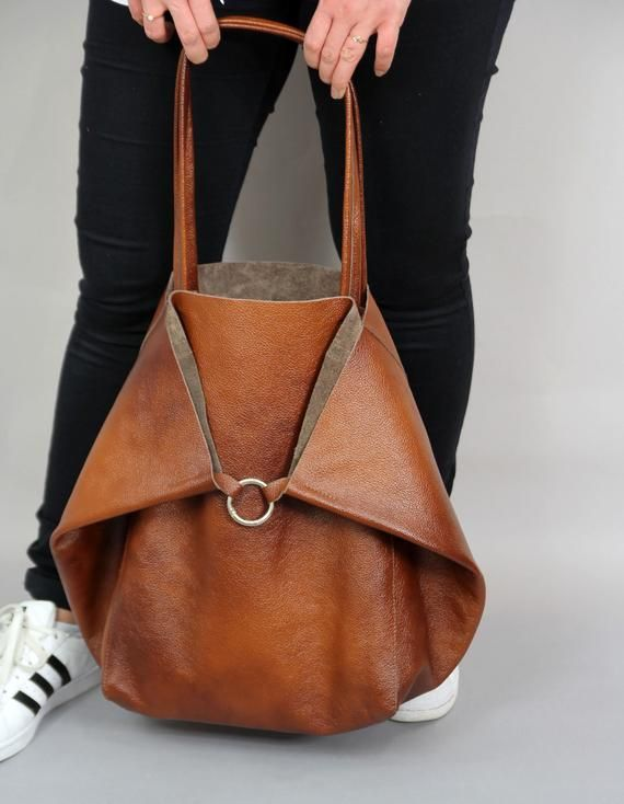 Photo of LARGE OVERZED TOTE bag, brown slouchy tote, brown handbag for women, soft leather bags …
