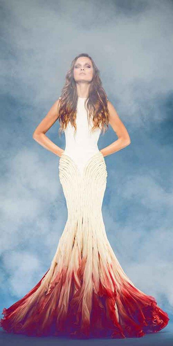 100 Colorful Non-White Wedding Dresses | Red ombre, Mermaid wedding ...