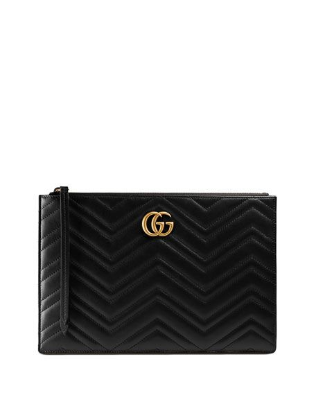 ad25c8149cf2 GUCCI Small Zip-Top Flat Pouch Wristlet Bag, Black. #gucci # | Gucci ...