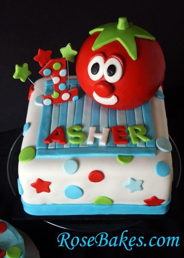 Veggietales Bob The Tomato 1st Birthday Cake Birthday Pinterest