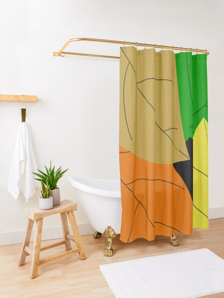 Colorful Leafs Colorful Leaves Shower Curtain By Msd7 Redbubble Designer Shower Curtains Shower Curtain Curtains