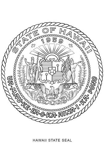 Hawaii State Seal Coloring Page From Hawaii Category Select From