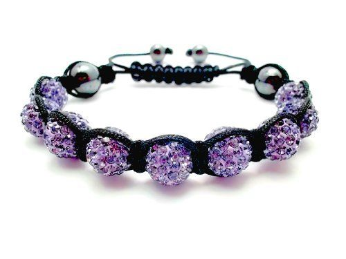 Purple Violet Swarovski Crystal Bead Shamballa Style Bracelet With 7 Iced Out Disco Ball Beads C Fashion Bracelets Swarovski Crystal Beads Swarovski Crystals