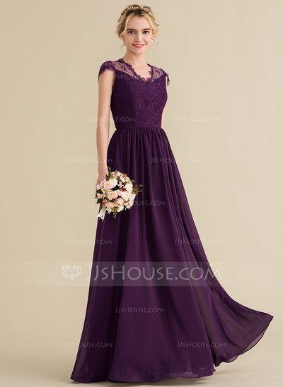 [US$ 133.00] A-Line/Princess V-neck Floor-Length Chiffon Lace Bridesmaid Dress (007131068) #lacebridesmaids