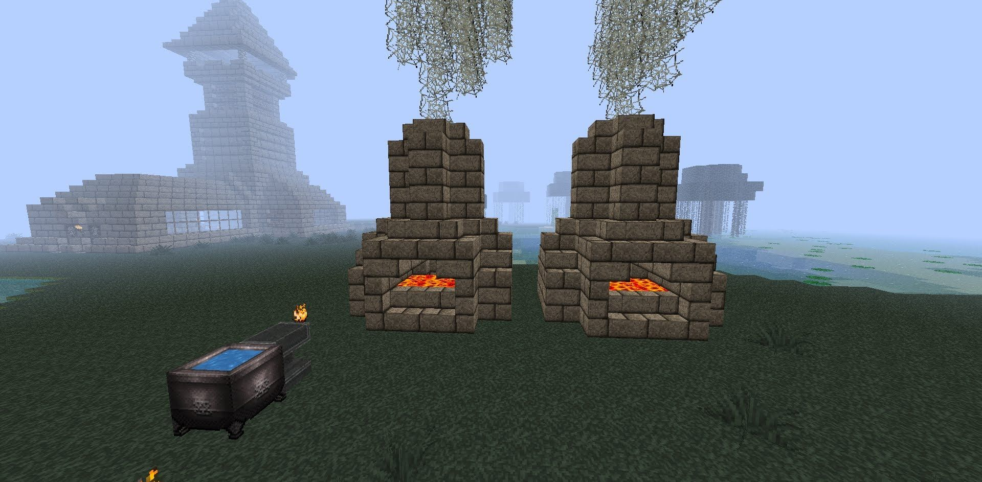 Minecraft Mini Tutorial- Blacksmith Furnace- How to Build a