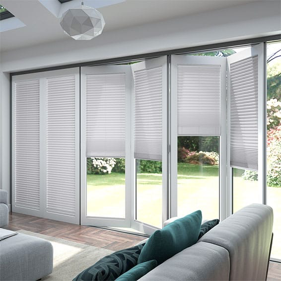 BiFold ClickFIT Palest Grey Pleated Blind Glass door