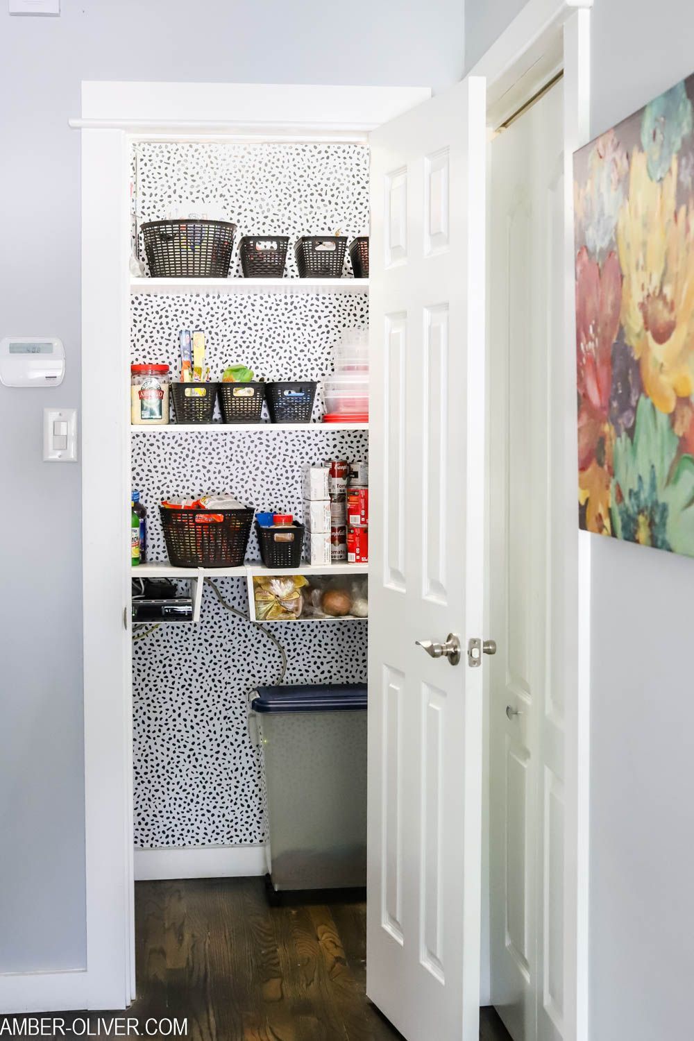 Learn How To Apply Peel And Stick Wallpaper Quickly And Easily See How We Transformed Our Pantry F Peel And Stick Wallpaper Wallpaper Shelves Pantry Wallpaper