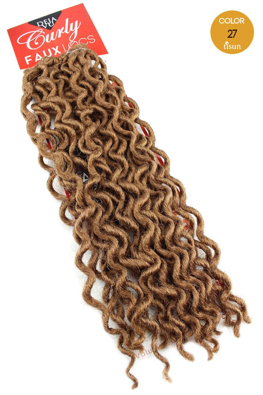 Deja Vu Curly Faux Locs Crochet Braiding Hair Color 27 Honey