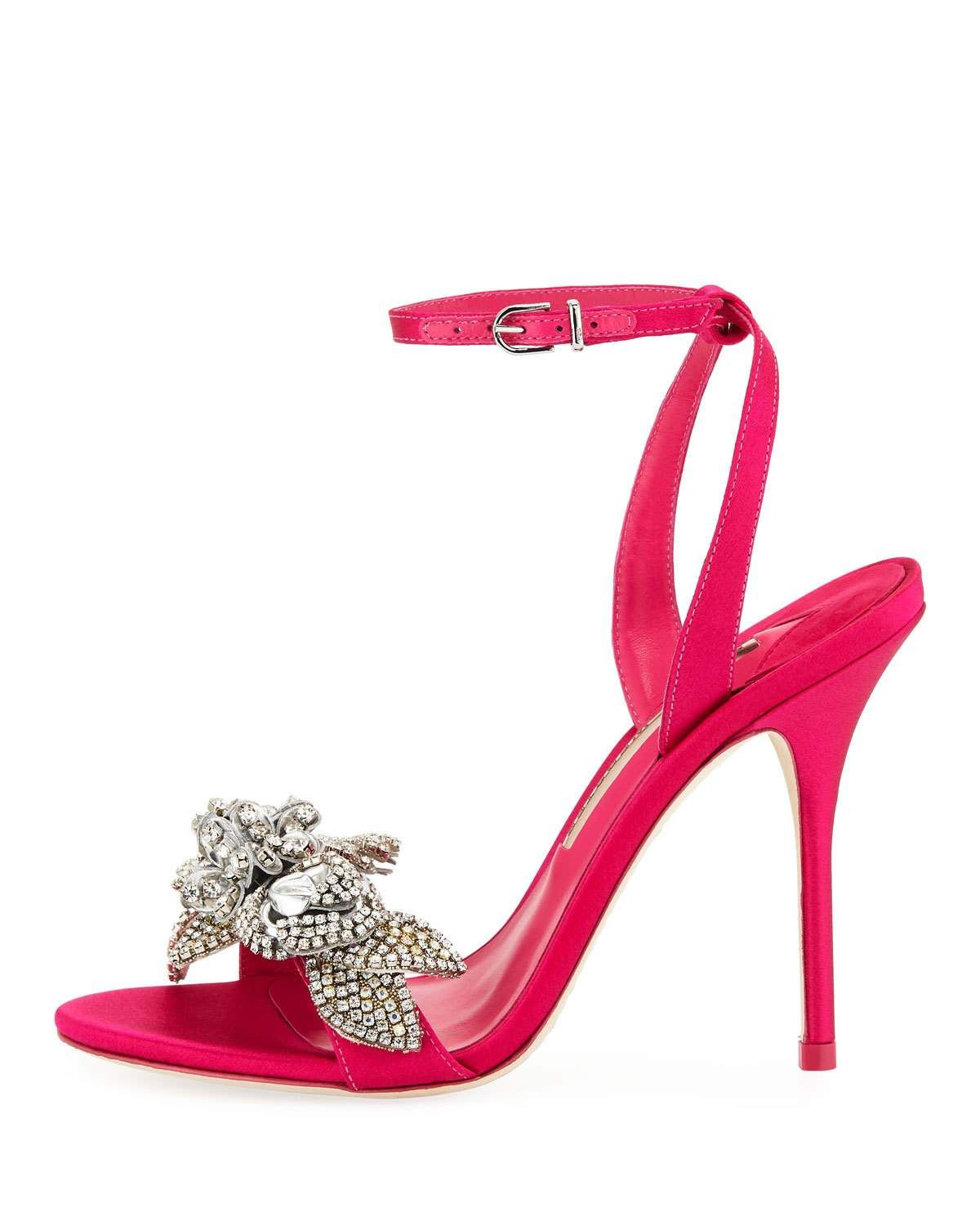 82d63d5583c Lilico Crystal Satin Sandals Bright Pink   Products   Sandals ...