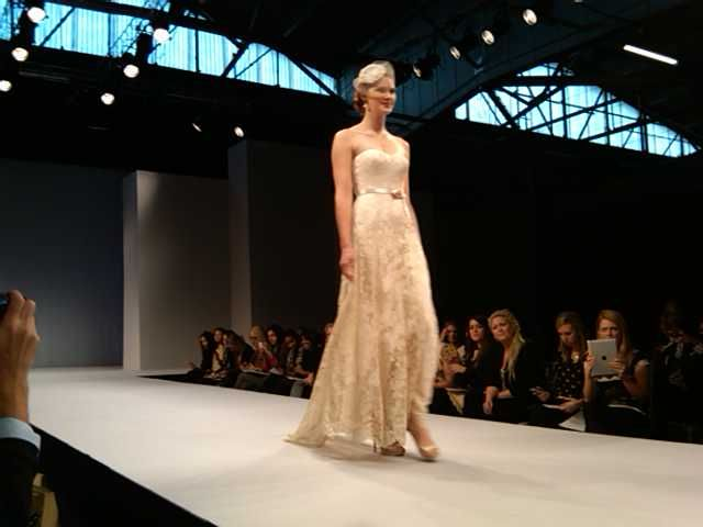 Vintage-inspired Chantilly lace gown by Anne Barge
