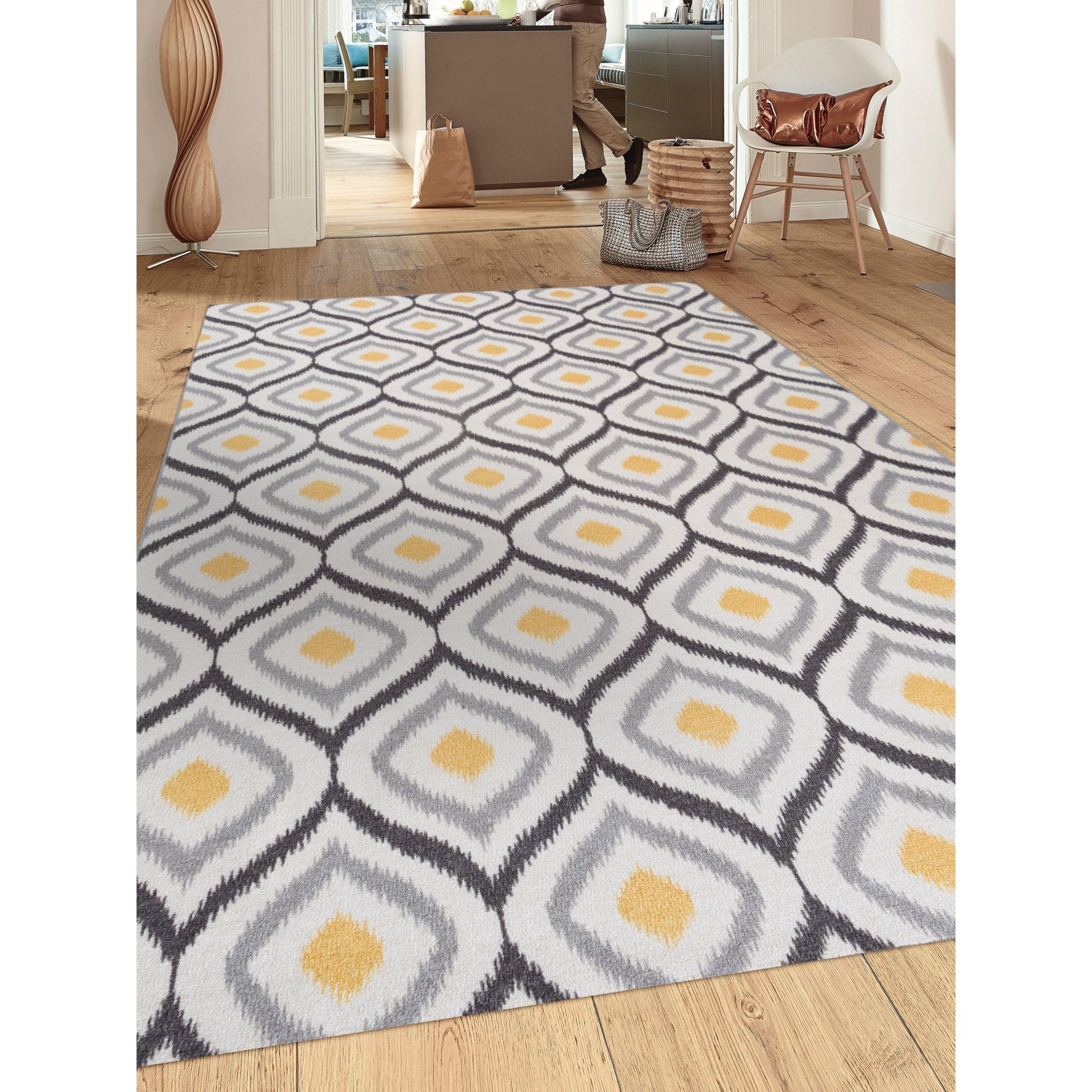 Modern Moroccan Design Non Slip Non Skid Area Rug Gray Yellow 7