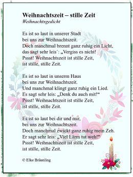 Sehr Kurze Weihnachtsgedichte.Weihnachtszeit Stille Zeit Christmas Gedicht Weihnachten