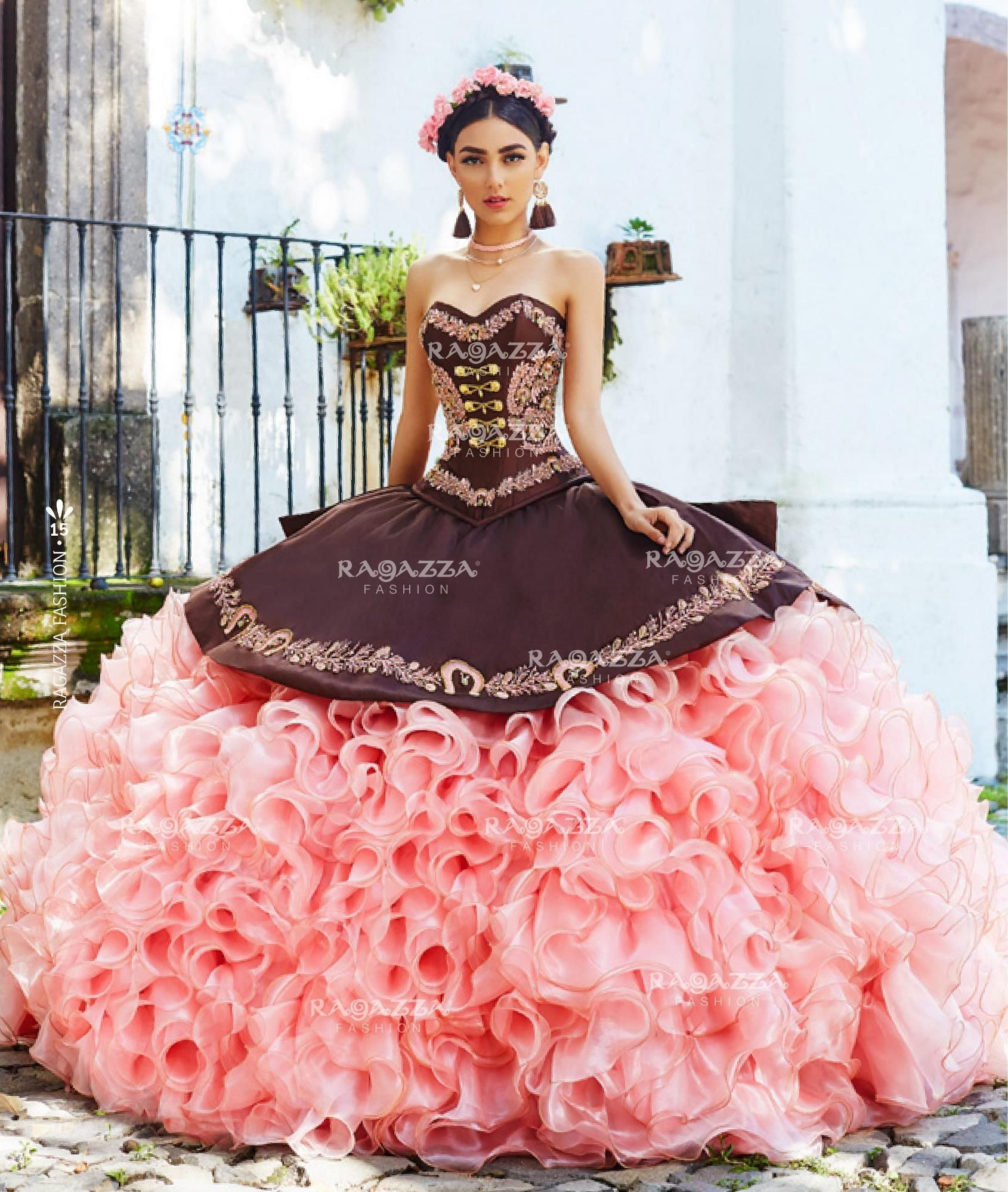 932bb0b354 Ruffled Charro Quinceanera Dress by Ragazza Fashion Style M14-114 ...