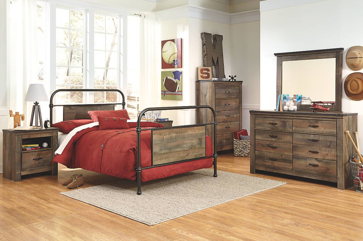 Best Rustic Modern Full Bedroom Set With Metal Bed Frame 640 x 480