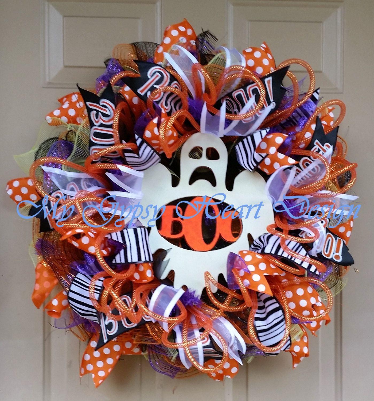 Fall Halloween Wreath, Ghost \ - halloween front door decor