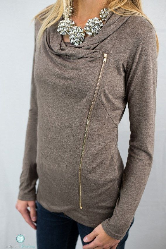 They're Back! Asymmetrical Zipper Top - 3 Colors!