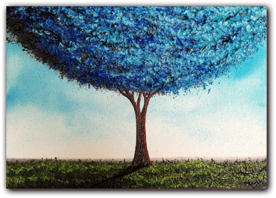 Original Art Modern Landscape Painting With Blue Tree Painting Contemporary Art Oil Painting Abstract Tree Painting Modern Landscape Painting Tree Painting