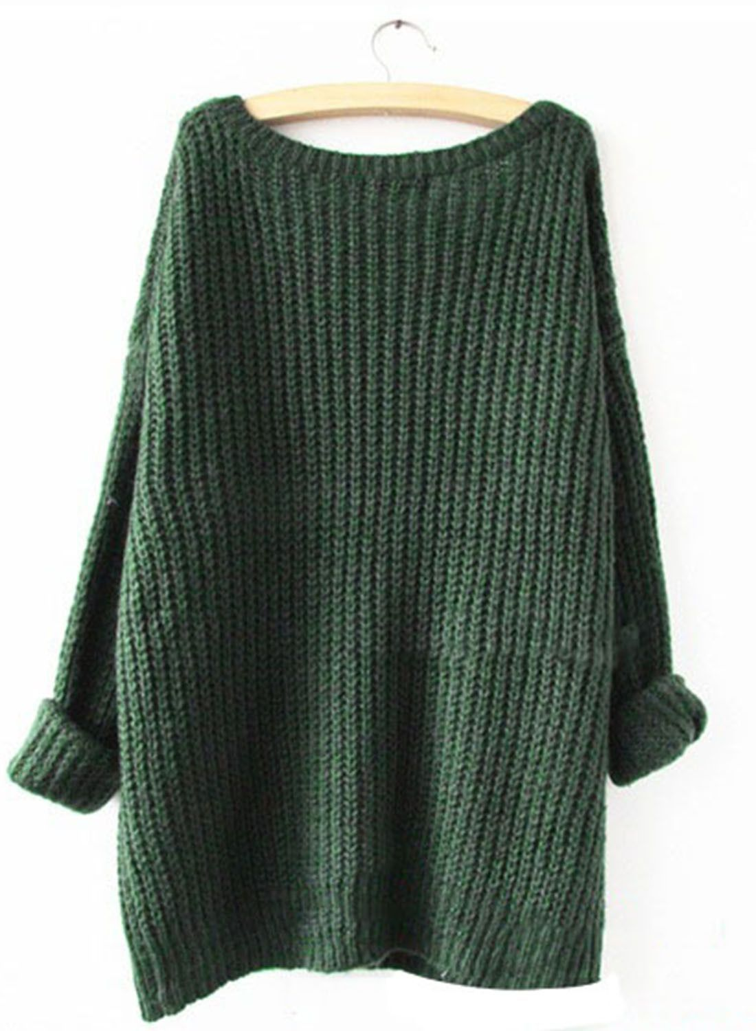 Green Oversized Loose Fit Chunky Knit Sweater | Products