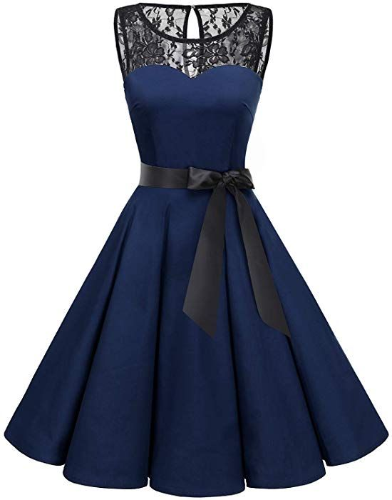 3f2dbca40319 Bbonlinedress Women's 1950s Vintage Rockabilly Swing Dress Lace Cocktail  Prom Party Dress Navy L at Amazon Women's Clothing store: