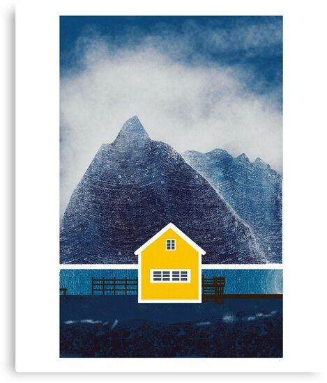 Drawing of yellow House in sakrisoy island in Norway  Night landscape Millions of unique designs by independent artists Find your thing Popular pin
