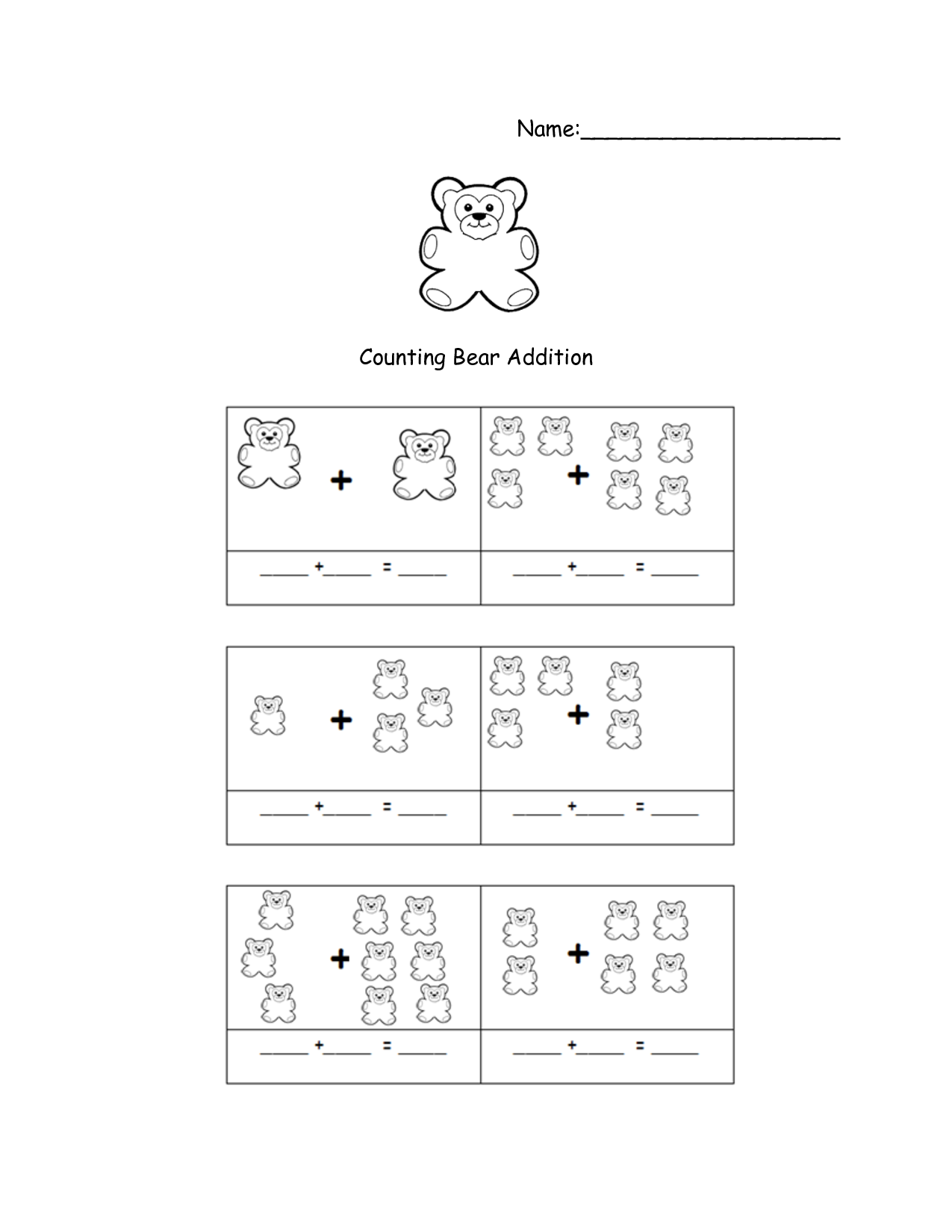Gummy Bear Math Worksheet