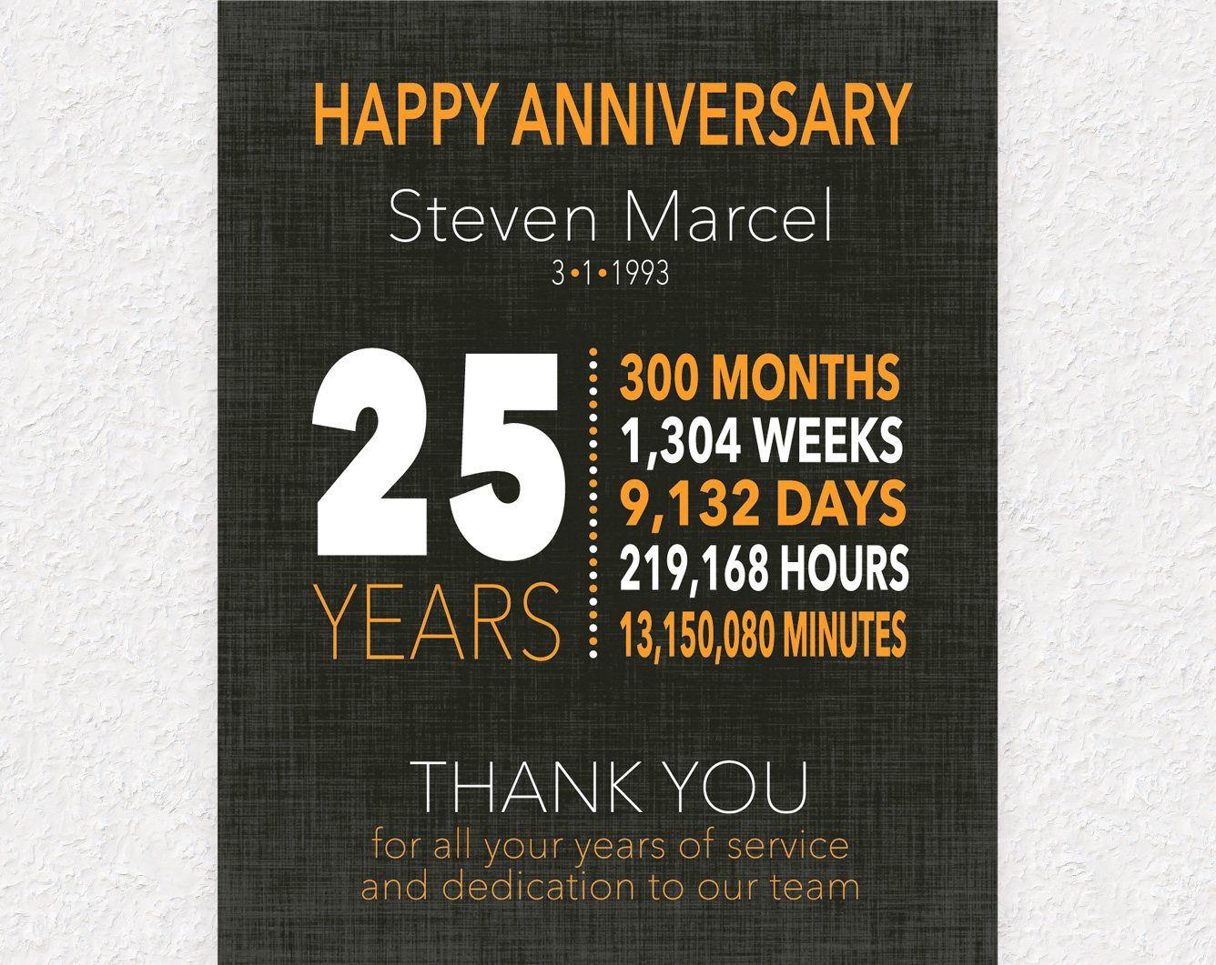 25 Year Work Anniversary Gift 10 Year Service Award Employee