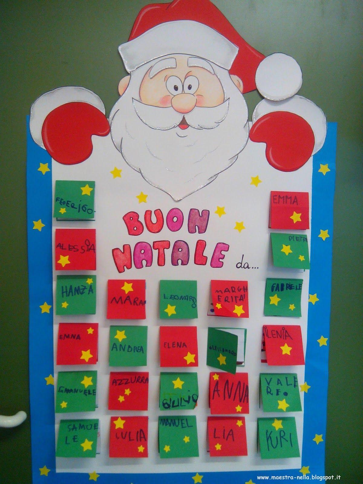 Maestra nella cartellone babbo natale natal pinterest for Idee per cartelloni scuola infanzia