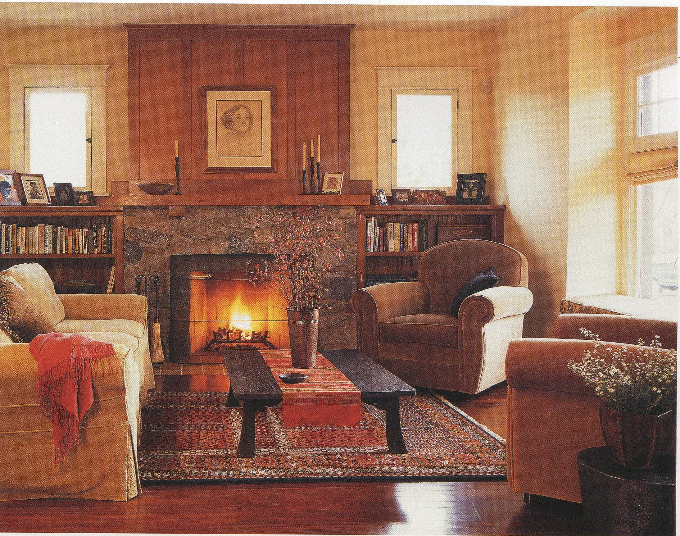 Craftsman living room, stone fireplace | Craftsman ...
