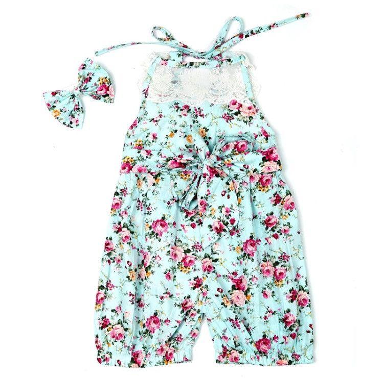 Floral & Lace Romper (Blue or Pink)